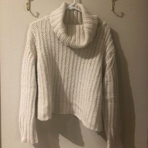 Topshop Cable Knit Cowl Neck Sweater